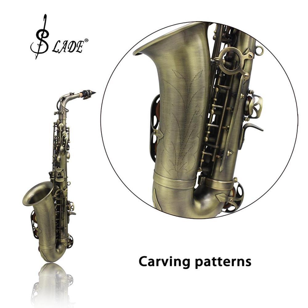 LADE de Alto grado antiguo Eb E flat Alto saxofón abulón cáscara clave tallado patrón con caso guantes correas boquilla - 4