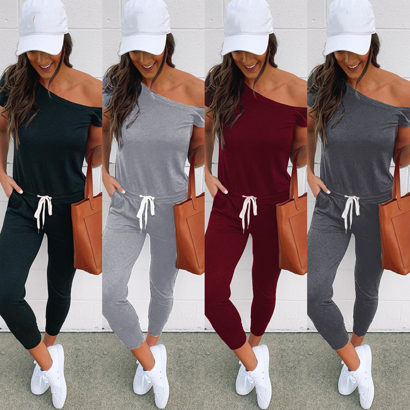 LOSSKY Summer Sexy Women's Casual Off Shoulder Jumpsuits 2020 Women High Waist Bodycon Short Sleeve Jumpsuit Romper Trousers