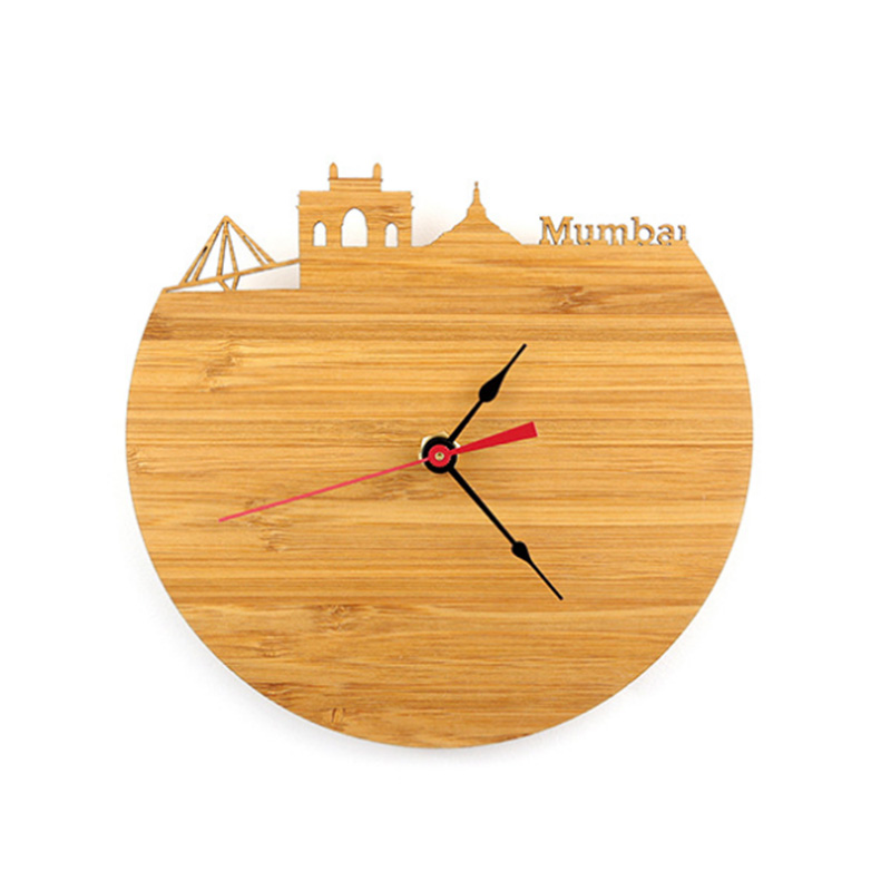 Mumbai Bamboo Wall Clock - Decorate Your Home With Modern Art Skyline Design - Best Gift For Girlfriend Natural Wall Clock