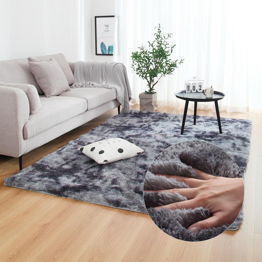 Multisize Bedroom Water Absorption Carpet Rugs For Living Room Bedroom Carpet Tie Dyeing Plush Soft Carpets Anti-slip Floor Mats