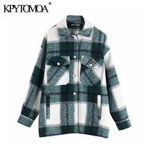 Vintage elegante bolsillos Oversized Plaid chaqueta abrigo mujer 2020 marca de moda Collar de manga larga suelta prendas de vestir exteriores Chic Tops