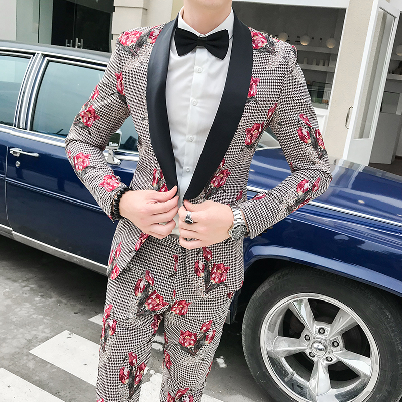 2019 Autumn Mens Plaid Suits Flowers Suits Mens Night Club Outfits Social Fancy Stage Costumes For Singers Men Korea Colthes