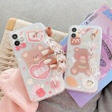 Korea miłość serce niedźwiedź bransoletka etui na telefony dla iPhone 12 Pro Max X XS XR 7 8 Plus SE 2020 11 przezroczysty łańcuch miękka tylna okładka