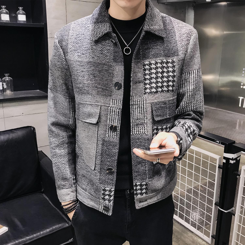 Z019 Men's Winter Wool Blends Coats Plaid Short Slim Fit Jacket Casual Men Overcoat Fashion Windbreaker Mens Trench Coat Jacket