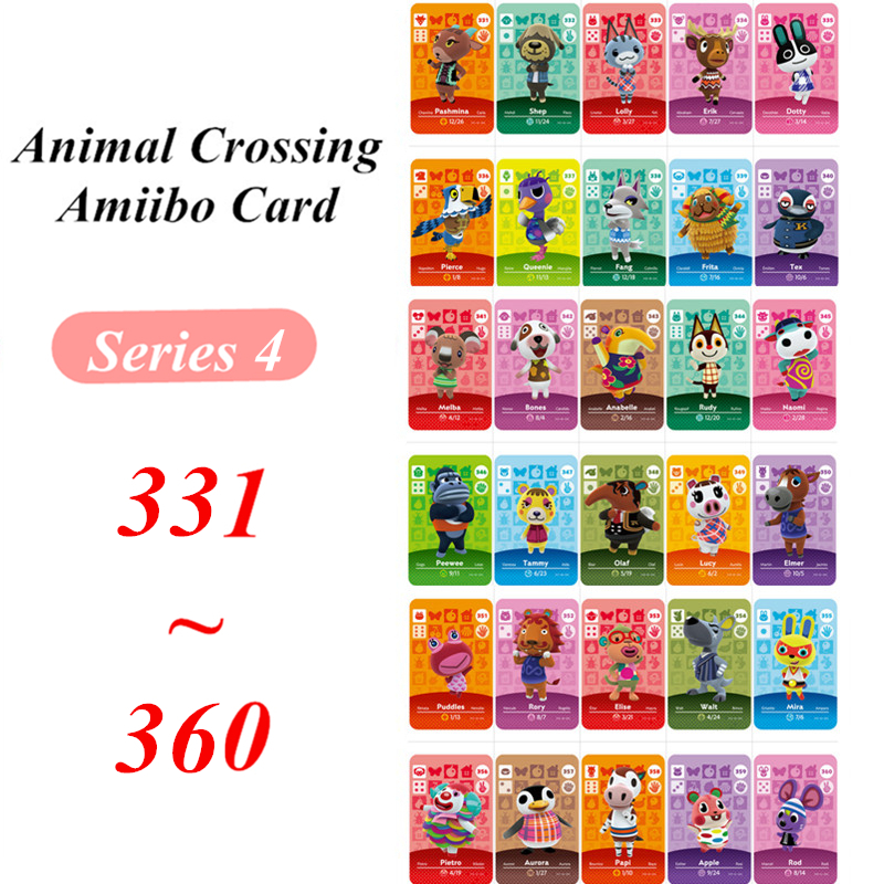 Animal Crossing Card Amiibo NFC Game Card 331 To 360 For Nintendo Switch NS Games Series 4  (331 To 360)
