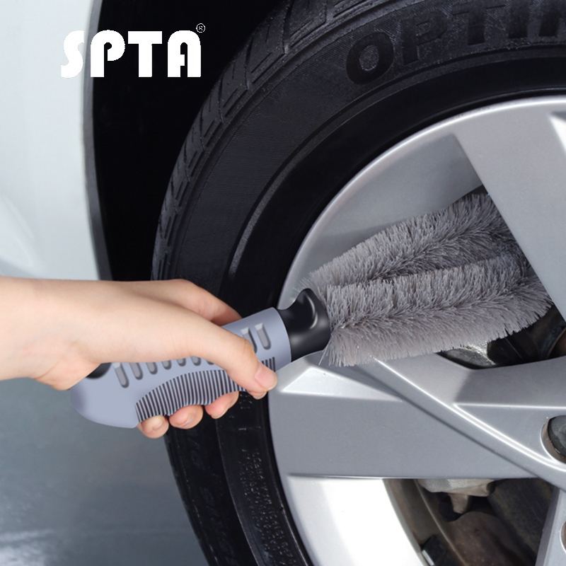SPTA Auto Car Wheel Wash Brush Plastic Handle Vehicle Car Cleaning Brush Wheel Rims Tire Washing Brush Auto Scrub Brush Cleaner
