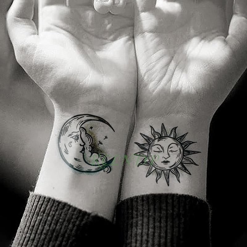 Waterproof Temporary Tattoo Sticker Sun Moon Fake Tatto Flash Tatoo Tatouage hand foot arm For Men Women girl(China)