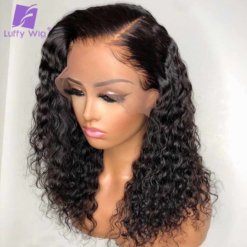 13x6 Lace Frontal Human Hair Wigs Deep Part Curly Lace Front Wig Pre Plucked Bleached Knots Remy Brazilian For Women LUFFY