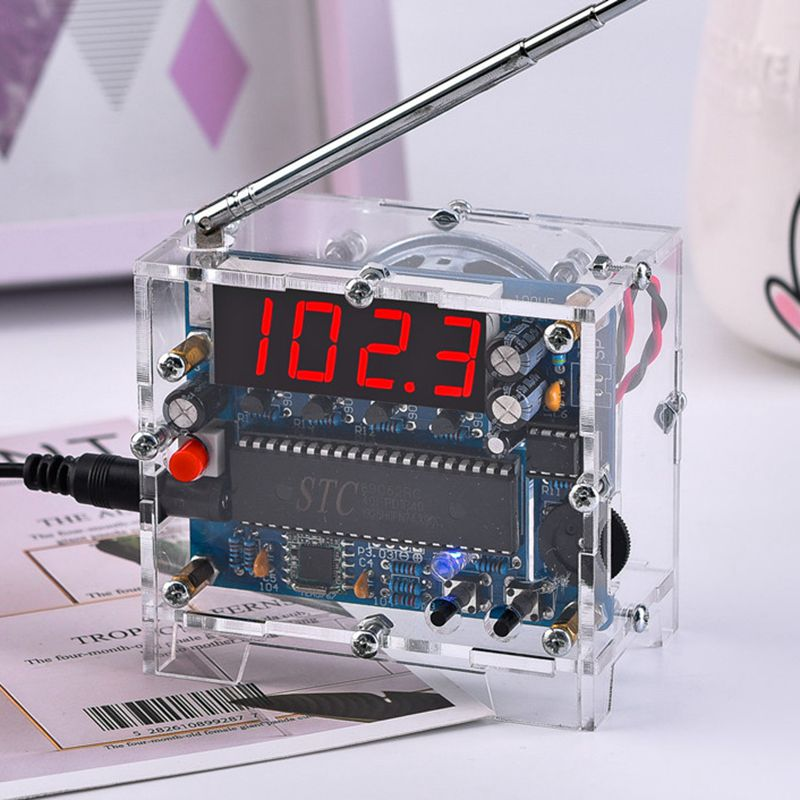 Rádio diy kit 87mhz-108mhz mini tea5767 receptor de rádio fm dc led display digital 5w alto-falante antena escudo transparente rádio fm