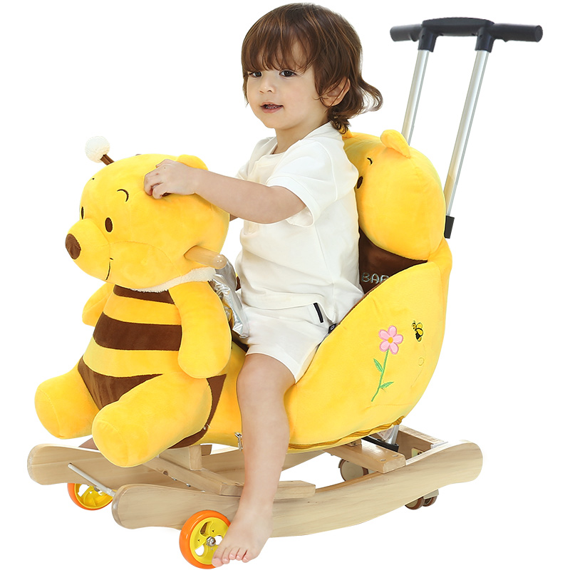 2 In 1 Children's Multi-functional Rocking Horse Chair With Music Baby Stroller Ride On Toys Push Chair 360 Universal Wheel