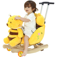 2 In 1 Children's Multi functional Rocking Horse Chair with Music Baby Stroller Ride on Toys Push Chair 360 Universal Wheel