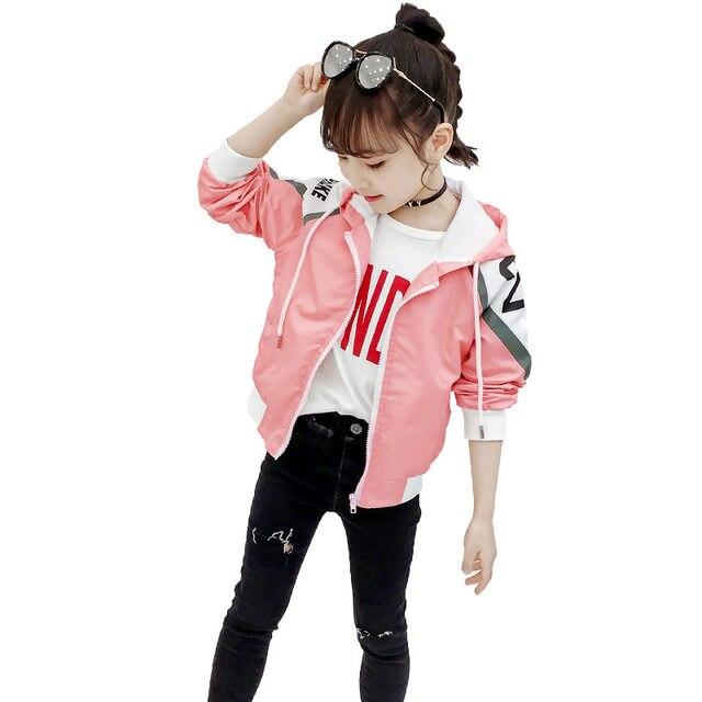 Kids Spring Jackets for Girls Coats 2020 New Hooded Jacket for Girls Coats Children Clothing Autumn Teen Girls Hoodie Zipper