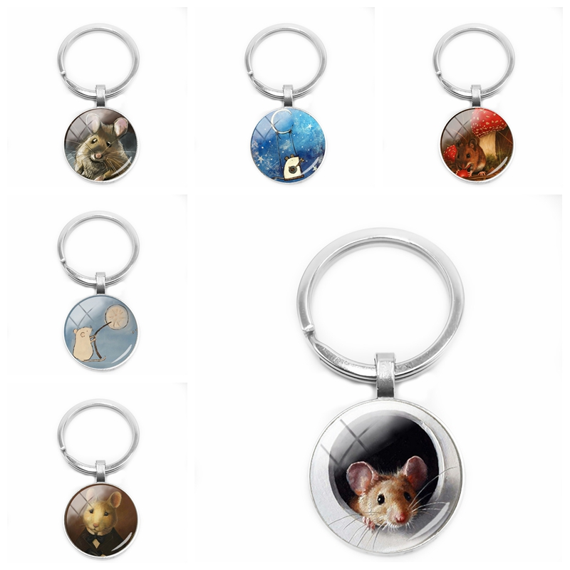 HOT! 2019 New Ladies Cute Cartoon Mouse Painting Keychain Fairy Tale Mouse Glass Convex Keychain Gift Ornaments