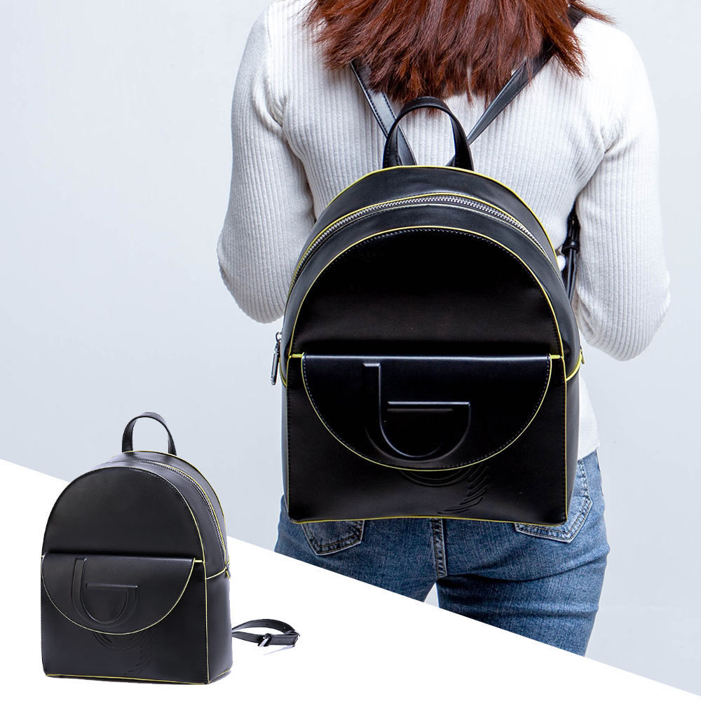 Womens Backpack Knapsack Bookbags High Quality Leather Waterproof Pu Black Red Faux Suede Lining Contrast Color New Arrival 2020