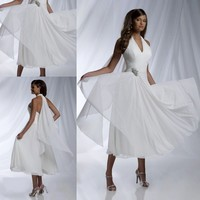 Cheap! New 2015 Free Shipping Simple A line Halter Chiffon Short Wedding Dresses with Crystal Waist Bridal Gowns Charming ZM055