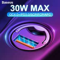Baseus Carga Rápida 4.0 3.0 C USB Carregador de Carro Para Xiaomi Huawei P30 Pro QC4.0 mi9 QC3.0 QC 5A Rápido PD de Carregamento Do Carregador Do Telefone Do Carro