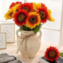 Artificial Flower Fake Sunflower Silk Bouquet Wedding Party Floral Decorations Supplies M
