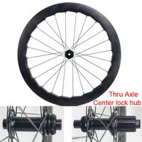 New 454 700C 58mm Road bike full carbon fibre dimpled rims clincher bicycle wheelset Thru Axle center lock hub CX3 Free shipping
