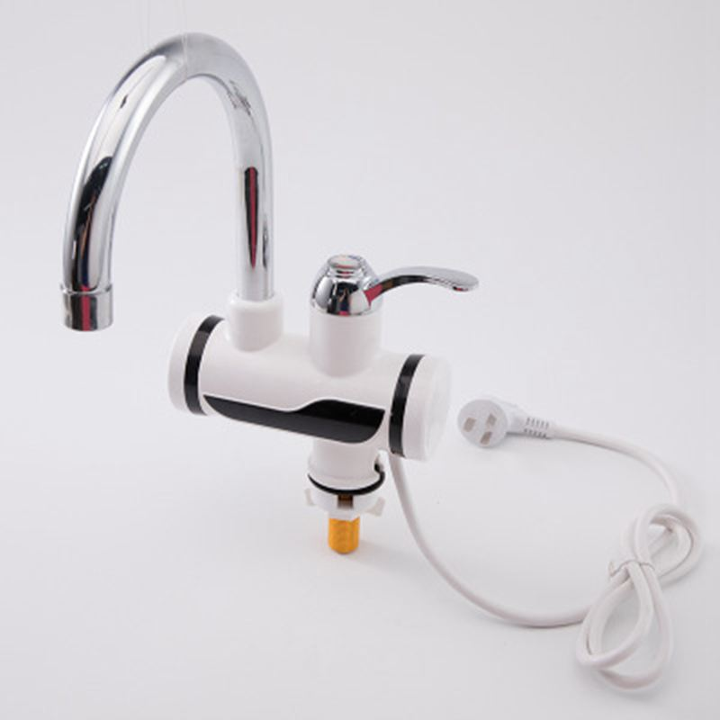 EU Plug Stainless Steel LED Digital Display Hot And Cold Water Mixer Tap Water Heater Sink Basin Faucet Outlet Mixer EU Plug (Si