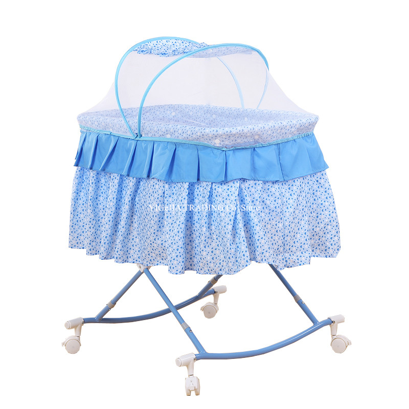 Portable 2-in-1 Baby Bassinet with 4 Lockable Wheels, Foldable Newborn Rocking Cradle Have Mosquito Net, Cute Crib