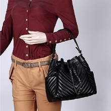 Caker Women Genuine Leather Drawstring Shoulder Bags Embroidery V Diamond Lattice Handbag Chain Red Black Bucket Bags цена в Москве и Питере