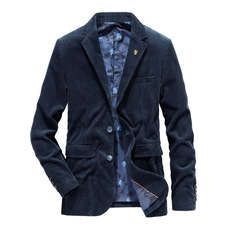 Casual Blazer Fashion Autumn Winter Mens Blazer Jacket Cotton Corduroy Men Suit Outerwear Business Coats Clothing Male MY155