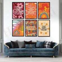 Flower Power| 70s Floral Pattern Print| 70s Wall Art| Vintage Gradient Rainbow Poster| Wall Art| Retro Home Decor| Hippie Decor