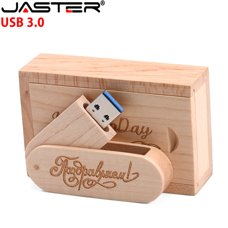 JASTER (over 1 PCS Free LOGO)  Wooden USB3.0 +  Box Pen Drive 4GB 8G 16G 32GB 64G USB Flash Drive Photography Wedding Gifts