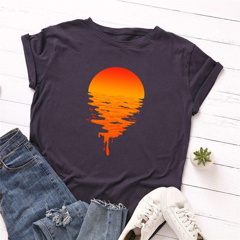 Plus Size S-5XL New Sun Print T Shirt Women Shirts 100%Cotton O Neck Short Sleeve Tees Summer T-Shirt Pink Tops TShirt Women