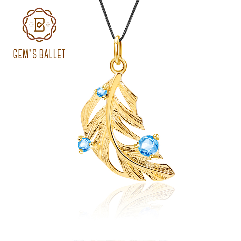GEM'S BALLET Natural Blue Topaz 925 Sterling Silver Elegant Golden Feathers Pendant Handcrafted Necklace For Women Fine Jewelry