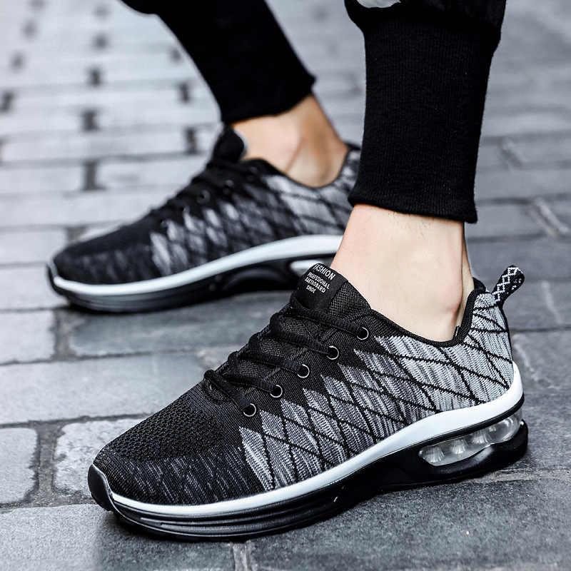 REETENE yeni koşu ayakkabıları erkekler için şok emici spor ayakkabı erkekler hava yastığı rahat erkekler Sneakers dış mekan teli ayakkabı eğitmenler