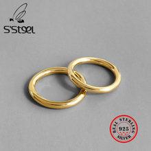S'STEEL – Bague en Argent Sterling 925 Pour Femme, anneau rond en or, Argent Massif, accessoires, bijoux à la mode, S925