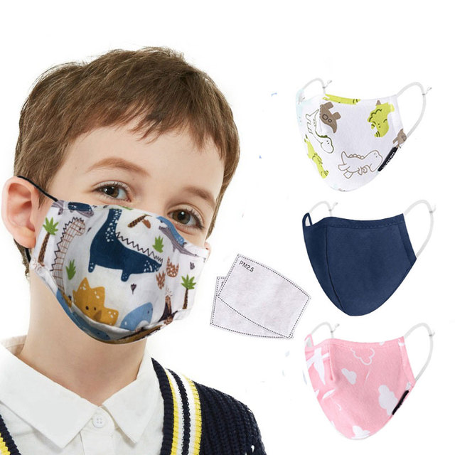 Cotton Children Face Mask for 3-12 Years 4-Layer Reusable Mouth Face Mask Boy Girl Lovely Cute Kids Mask Adjustable Mouth Muffle