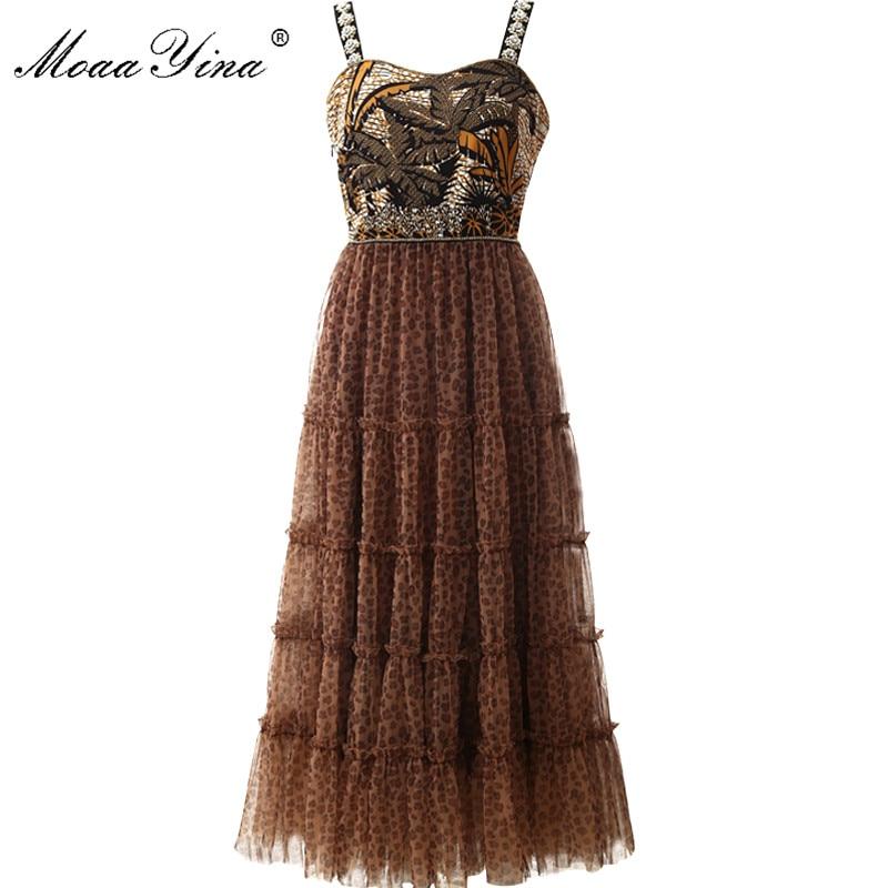 MoaaYina Fashion Designer Runway Dress Summer Women Spaghetti Strap Beaded Leopard Print Mesh Vacation Dress