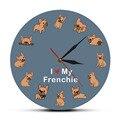 Настенные часы с принтом I Love My Frenchie для щенков  декоративные часы для собак с французским бульдогом  бесшумные настенные часы для зоомагази...