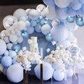 Пастель набор воздушных шариков с Макарон сине-белые воздушные шары гирлянда арочный комплект металлические шары Свадебные Baby shower счастли...
