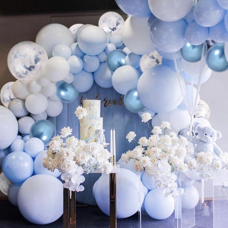 Pastel macaron azul branco balões garland arco kit metálico rosa balões aniversário chá de fraldas casamento decoração da festa de noiva