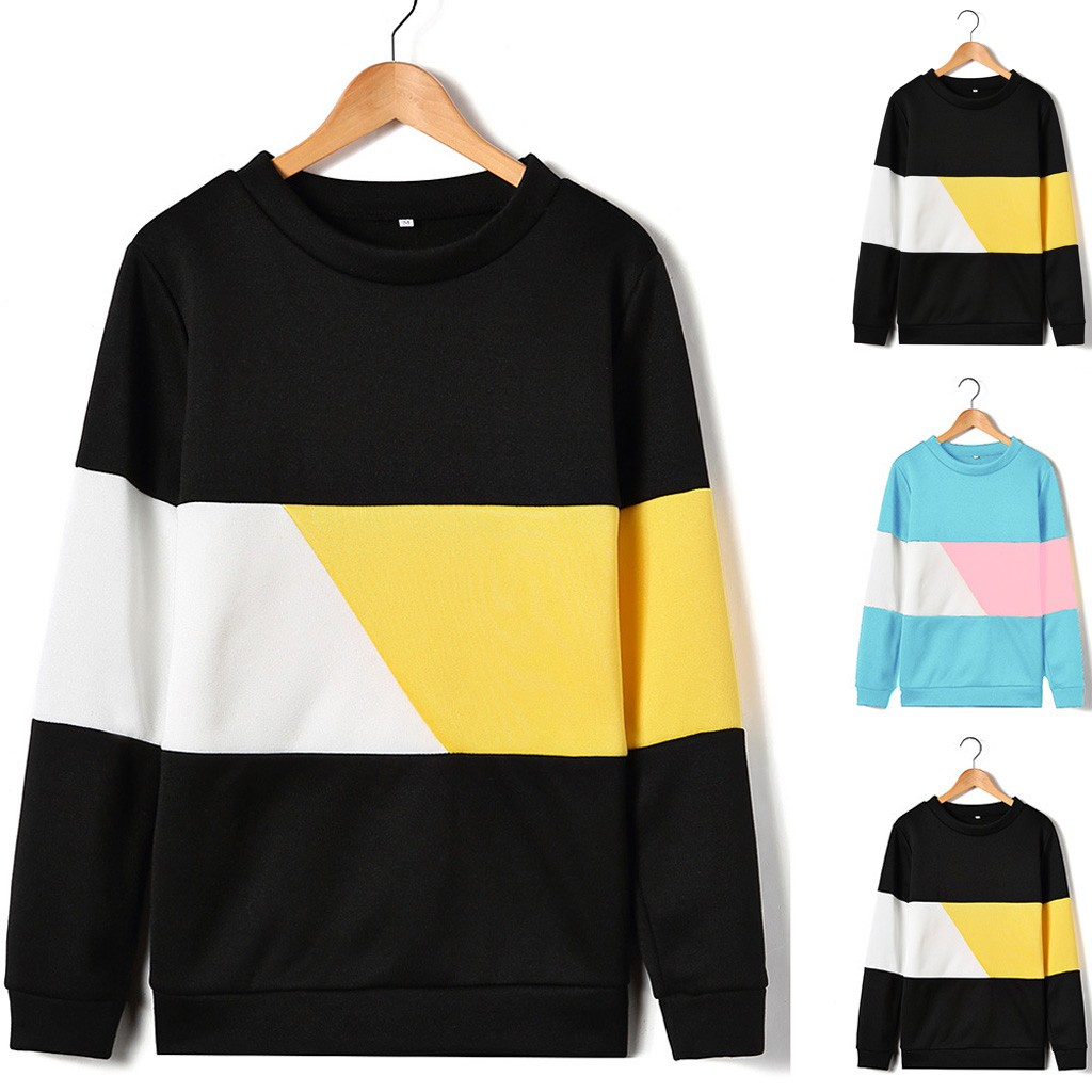 Fashion 2020 New Winter Knitted patchwork For Women Long Sleeves O-neck Stripe Loose Office Ladies Casual Pullover Sweatshirt