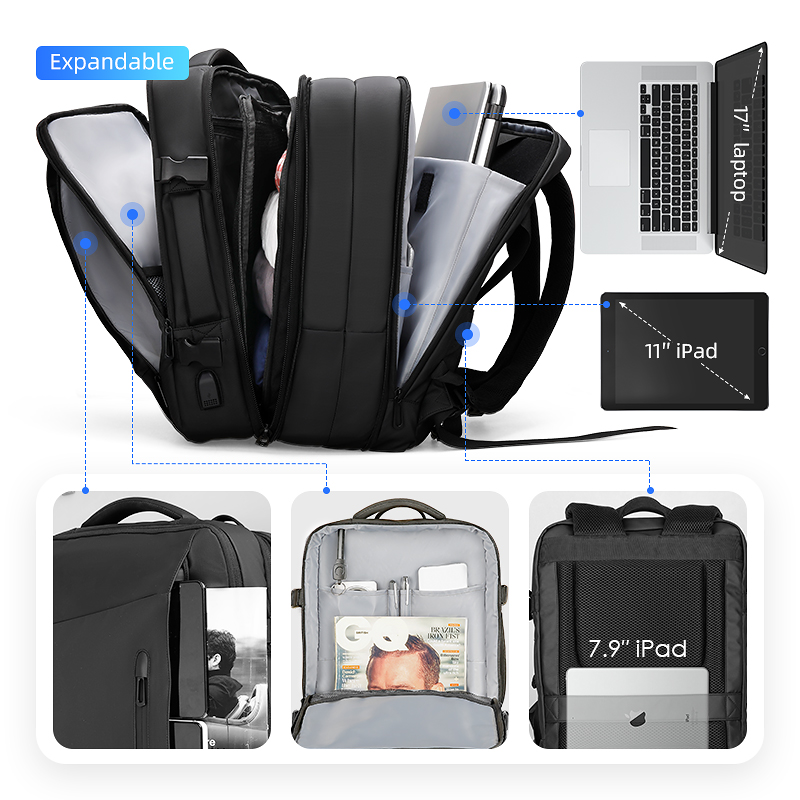 Image 3 - Mark Ryden 17 inch Laptop Backpack Raincoat Male Bag USB Recharging Multi layer Space Travel Male Bag Anti thief Mochila-in Backpacks from Luggage & Bags