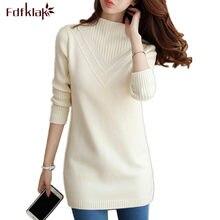 Fdfklak – pull à col roulé pour femme, ample, coréen, mi-long, épais, automne-hiver, nouveau, top en tricot