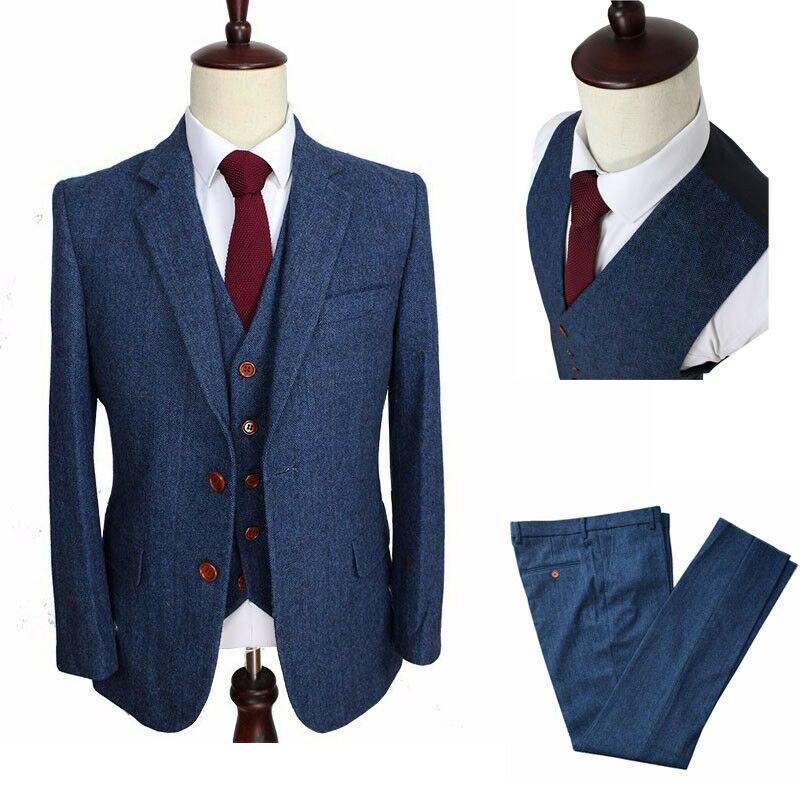 Wool Classic Slim Fit Tweed Blue Stripe Men Wedding Suit Groom Blazers Tailor