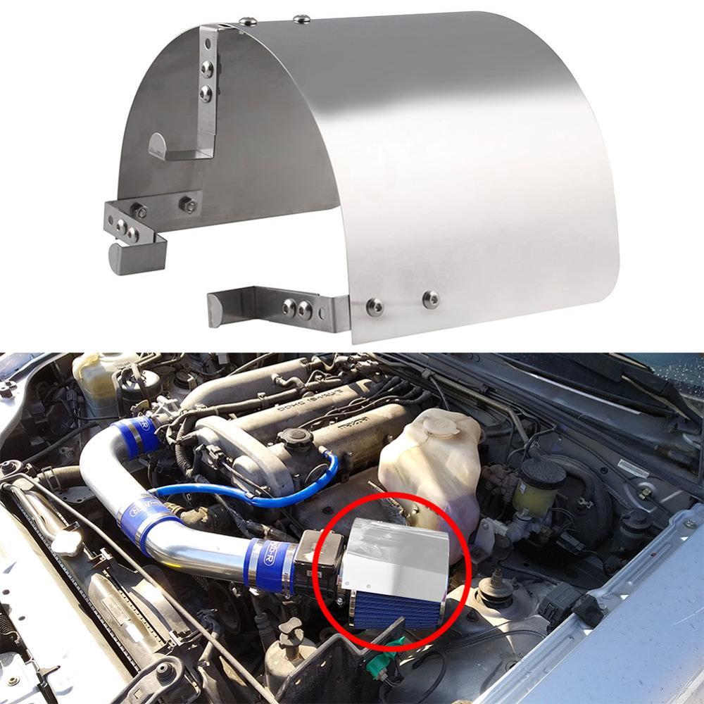 נירוסטה מרוצי מכוניות אוויר קר צריכת קונוס ספורט אוויר מסנן כיסוי מגן חום 2.5 ''-5'' צוואר