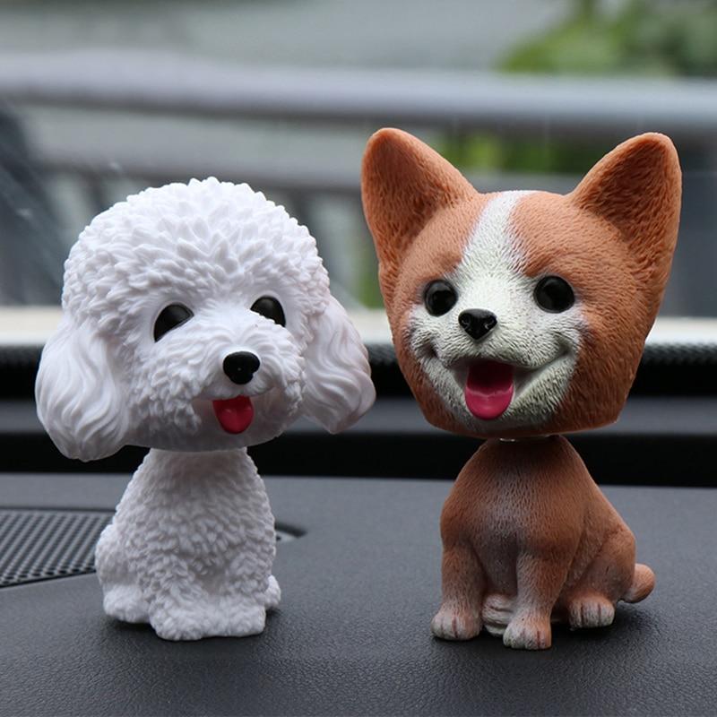 Трясущийся орнамент с изображением собак из смолы, милый поплавок, украшение, встряхиванная голова, куклы, подарок для салона автомобиля, до...