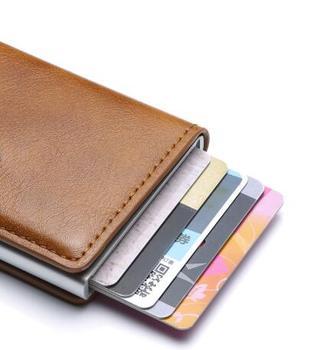 RFID Blocking Men's Credit Card Holder Leather Bank Card Wallet Case Cardholder Protection Purse For Women 008124