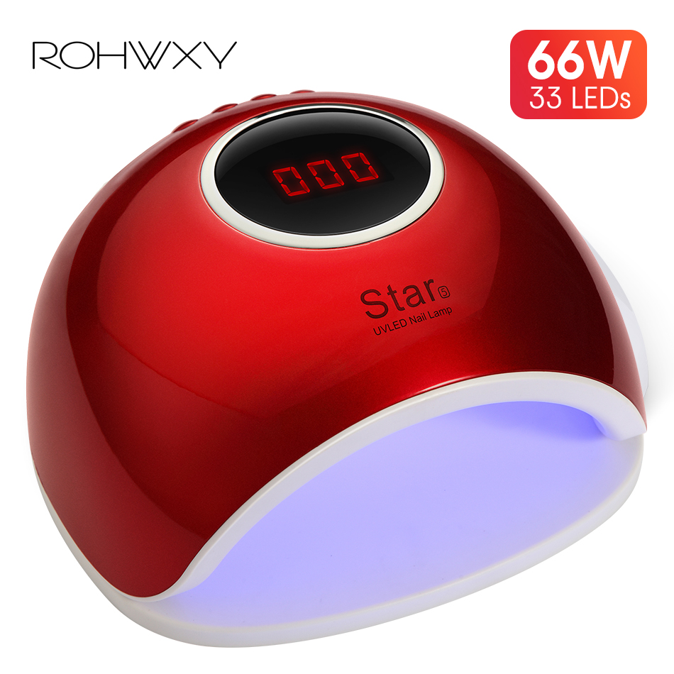 ROHWXY 66W LED/UV Lamp Sun Nail Dryer Star 5 Nail Art Tool Fast Drying For Nail Polish UV/LED/Builder Gel For Nail Manicure Lamp