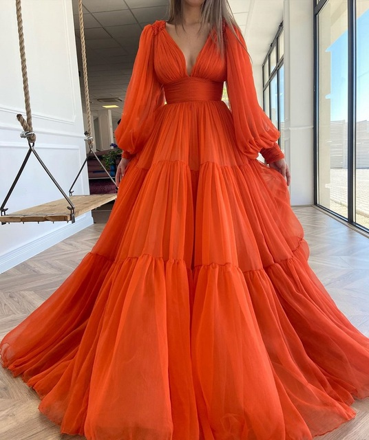 Sevintage Long Puff Sleeves Prom Dresses V-Neck Pleats Chiffon Princess Evening Gowns Women Party Dress Plus Size 2021 3