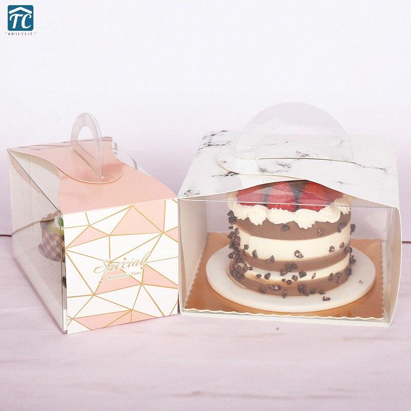 4 pouces Portable Transparent gâteau boîte papier tasse cuisson Nougat biscuits fourre-tout sacs de mariage chocolat emballage fête cadeau boîtes