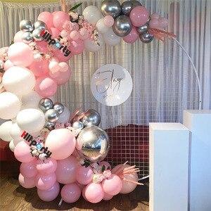 Guirnalda de Globos para fiesta de aniversario de boda de 117 Uds., decoración para niños, Globos de papel de aluminio plateado 4D para fiesta de cumpleaños, Baby Shower