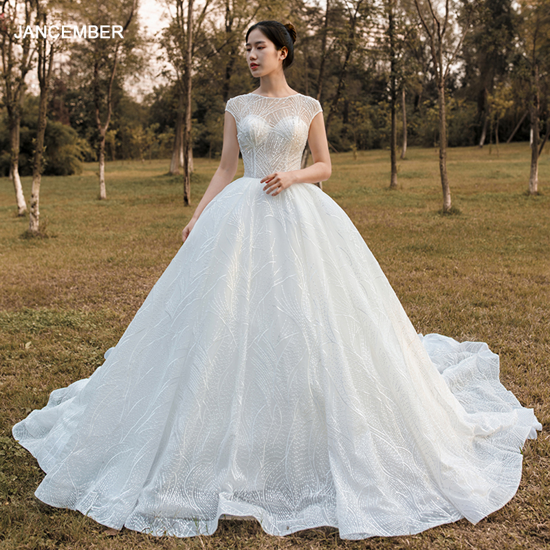 J67016 Jancember Luxury Princess Bridal Gown Wedding Dresses O Neck Short Sleeve Pattern White Dress Elegant Vestido De Noiva