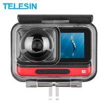 Telesin 45m subaquática habitação caso à prova dwaterproof água lente capa protector para insta360 um r 4k 360 edição câmera acessórios